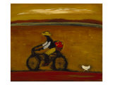 Man on Bicycle Print by Karen Bezuidenhout
