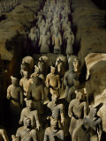 Terracotta Warriors and Horses March Toward Rising Sun Photographic Print by O. Louis Mazzatenta