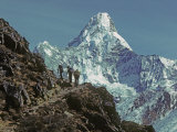 "Trekkers Below 6,812-Meter (22,349') Ama Dablam ""Mother's Charm Box"" Photographic Print by Gordon Wiltsie"