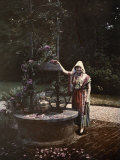 Cauchois Girl Stands Next to Wrought-Iron Well at Goustimesnil Castle Photographic Print by Gervais Courtellemont