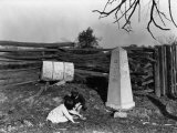 Two Children Sit by the Cast-Iron Milepost Near the National Pike Photographic Print by Clifton R. Adams