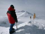 Mountaineer Stands Atop Mount Vinson, Antarctica's Highest Peak Photographic Print by Gordon Wiltsie