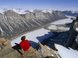 Alex Lowe on the Summit of Great Sail Peak, Above Stewart Valley Photographic Print by Gordon Wiltsie