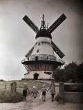 Children Pose in Front of Windmill Photographic Print by Gustav Heurlin