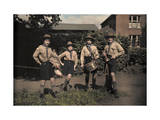 Portrait of Boy Scouts at Abinger Hammer on a Sunday Hike Photographic Print by Clifton R. Adams