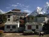 Tengboche Monastery Stands in Front of Mounts Everest and Ama Dablam Photographic Print by Gordon Wiltsie