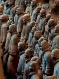 Ancient Soldier Statues Stand at Front of Terracotta Army Photographic Print by O. Louis Mazzatenta