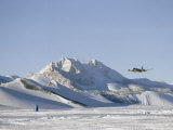 Wheeled Dc-4 Approaches Bare Ice Runway at Private Expedition Base Photographic Print by Gordon Wiltsie