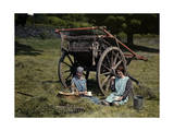 Two Girls Eat Lunch in a Hayfield Near Hawkshead Photographic Print by Clifton R. Adams