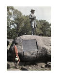 Woman Reads the Plaque at a Gettysburg Monument Photographic Print by Clifton R. Adams