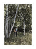 Two People Stand Among White Birches in the Battenkill Valley Photographic Print by Clifton R. Adams