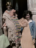 Two Girls Pose in a Doorway Holding Handmade Cloth Photographic Print by Edwin L. Wisherd