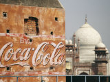 Coca Cola Billboard on a Building with the Taj Mahal in Background Photographic Print by  xPacifica