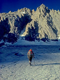 Climber Crosses the Palisade Glacier under North Palisade Peak Photographic Print by Gordon Wiltsie
