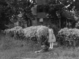 Young Girl Stands Outside Her Home with Her Dog Photographic Print by Clifton R. Adams