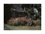 Woman Tends a Cottage Garden in Full Bloom Photographic Print by Clifton R. Adams