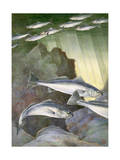 Silvery Sardines Swim Close to the Surface Above White Sea Bass Photographic Print by Hashime Murayama