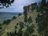 Sightseers Climb Bear Butte on Mules to Enjoy Scenic Vistas Photographic Print by Joseph Baylor Roberts