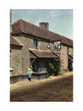 Child Stands by the Cat and the Fiddle Inn, Next to Old Roman Road Photographic Print by Clifton R. Adams
