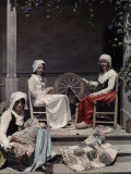 Three Girls, Dressed in Acadian Costumes, Sit Together on the Steps Photographic Print by Edwin L. Wisherd
