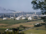 Panoramic View of Tulsa with an Oil Refinery in the Foreground Photographic Print by B. Anthony Stewart