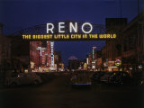 Neon Sign Arches over Virginia Street in Downtown Reno Photographic Print by W. Robert Moore