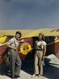 Student Pilots Wearing Parachutes Stand Beside Stephens College Plane Photographic Print by Richard Hewitt Stewart