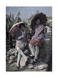 Two Smiling Young Girls Pose with Parasols,By Some Rocks Photographic Print by Wilhelm Tobien