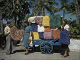 Colorful Cotton Cord Rugs are a Popular Purchase Among Tourists Photographic Print by Edwin L. Wisherd