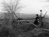 Two Ladies Admire the Panoramic View of Myersville Photographic Print by Clifton R. Adams