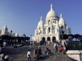 Tourists on the Steps Below the Sacre-Coeur Basilica Photographic Print by Richard Nowitz