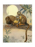 Painting of a Pair of Owl Monkeys in a Tree Photographic Print by Elie Cheverlange
