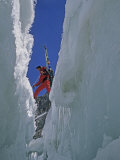 Climber Crosses a Crevasse on Palisade Glacier Photographic Print by Gordon Wiltsie
