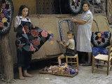 Mother and Two Children Work Together Hooking Rugs to Sell Photographic Print by Joseph Baylor Roberts