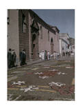 These People Stand in Front of a Church, Viewing the Floral Carpet Photographic Print by Wilhelm Tobien