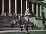 People Climb the Stairs to the Capitol Building and Enter in Crowds Photographic Print by Clifton R. Adams