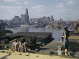 Women Look at Baltimore's Downtown from across the Patapsco River Photographic Print by W. Robert Moore
