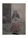 Portrait of a Hopi Indian Holding One of the Baskets She's Made Photographic Print by Franklin Price Knott