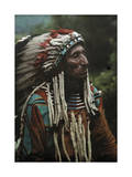 Portrait of a Flathead Chief Adorned in Strips of the Popular Ermine Photographic Print by Franklin Price Knott