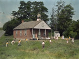 Kids Play Baseball During Recess Outside their Schoolhouse Photographic Print by Joseph Baylor Roberts