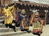 Novice Red Lamas Dressed as Demons Strike Threatening Poses on Steps Photographic Print by Volkmar K. Wentzel