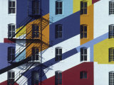 Fire Escape on a Colorfully Painted Building Photographic Print by Michael Melford