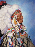Portrait of 95-Year Old Sioux Chief One Bull Photographic Print by W. Langdon Kihn