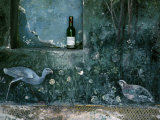 Modern Wine Bottle Sits Atop Shelf in Ancient Pompeii, Italy Photographic Print by O. Louis Mazzatenta