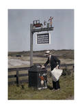 Man Helps Keep His Town Neat by Throwing Away Newspaper Photographic Print by Clifton R. Adams