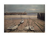 View of Fishing Boats Awaiting the Tide at St. Ives Bay Photographic Print by Clifton R. Adams