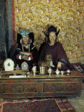 Former Queen of Ladakh Sits with Her Daughter, a Nun, and a Pet Dog Photographic Print by Volkmar K. Wentzel