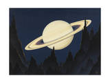 Painting of Saturn as Seen from an Astroid 500,000 Miles Away Photographic Print by Charles Bittinger