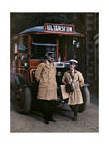 Two Bus Drivers Stand in Front of a Tour Bus in Ulverston Photographic Print by Clifton R. Adams