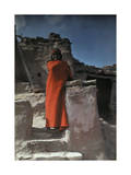 Standing at His Pueblo, a Hopi Indian Wears a Brilliant Red Blanket Photographic Print by Franklin Price Knott